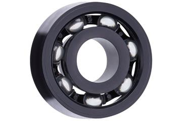 xiros® radial deep groove ball bearing, xirodur S180, glass balls, cage made of PA, mm
